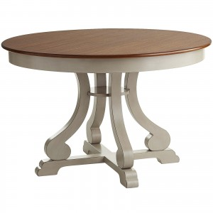 Marchella Colletion Linen Gray Round Dining Table